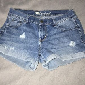 Light denim boyfriend shorts